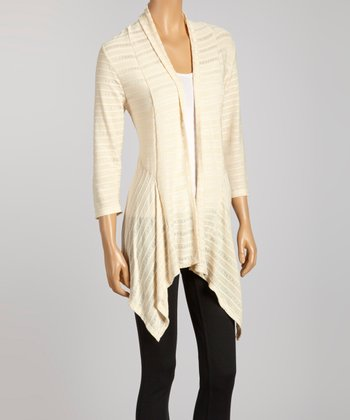 Ivory Stripe Sidetail Cardigan