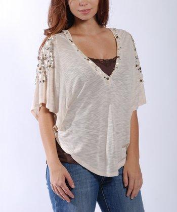 Cream Embellished Hooded Top - Women