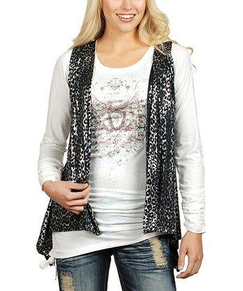 Black & Silver Foil Leopard Vest - Women