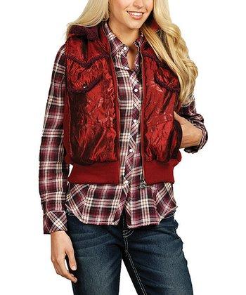 Crimson Red Hooded Zip-Up Vest - Women