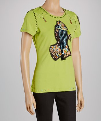 Lime Tribal Cap-Sleeve Tee - Women & Plus