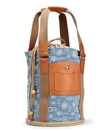 Denim Jacquard Espadrille Bucket Bag