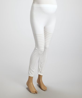 White Windowpane Maternity Seamless Leggings