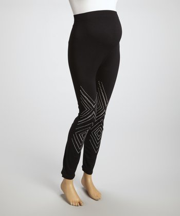 Black Geo Nailhead Maternity Seamless Leggings