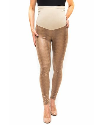 Camel Snakeskin Over-Belly Maternity Leggings