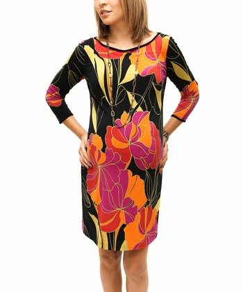 Black & Pink Floral Helene Maternity Shift Dress