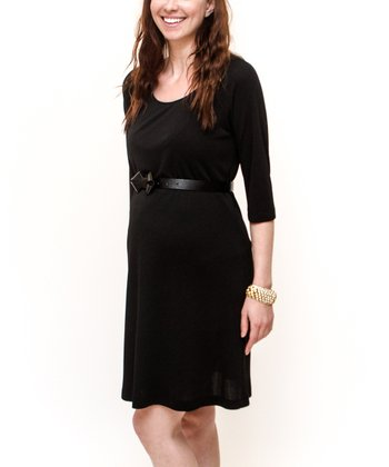 Black Belted Maternity Dress