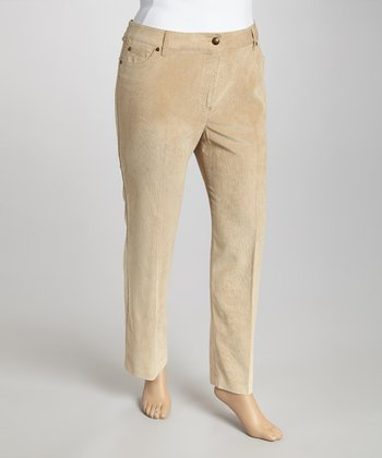 Cream Corduroy Pants - Plus
