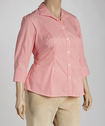 Spicy Coral Stripe Button-Up - Plus