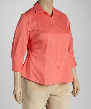 Spicy Coral Button-Up - Plus