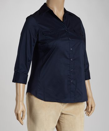 Navy Double-Pocket Button-Up - Plus