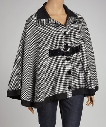 Black Houndstooth Belted Cape - Plus