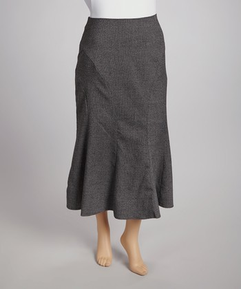 Charcoal Gray Tweed Skirt - Plus