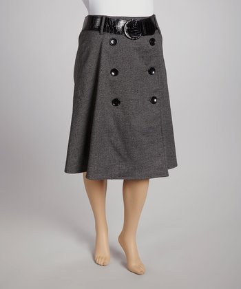 Charcoal Gray Belted Button-Front Skirt - Plus