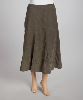 Olive Soutache Skirt - Plus