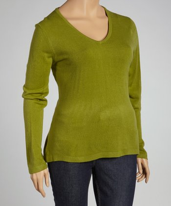 Green V-Neck Sweater - Plus