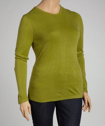 Green Crewneck Sweater - Plus