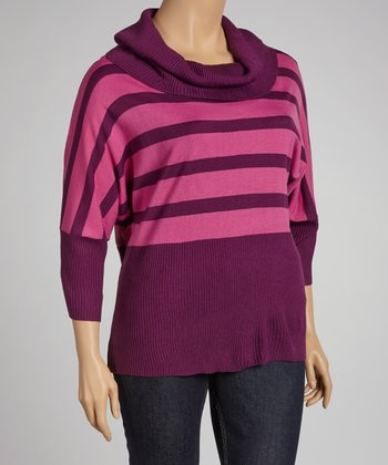 Berry Stripe Dolman Sweater - Plus