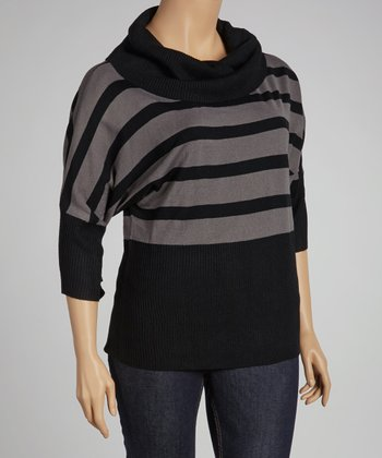 Black Stripe Dolman Sweater - Plus