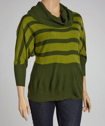 Green Stripe Dolman Sweater - Plus
