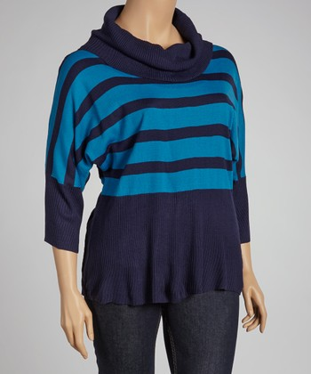 Navy Stripe Dolman Sweater - Plus