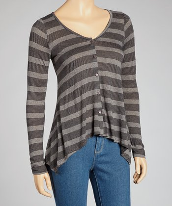 Charcoal Stripe Button-Up Top