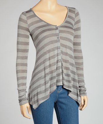 Gray Stripe Button-Up Top