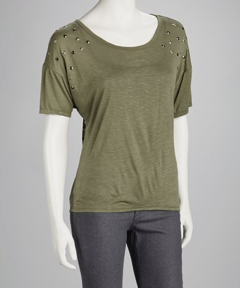 Olive Camo Chiffon-Back Top
