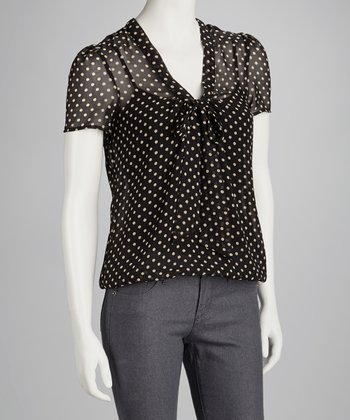 Black & Taupe Polka Dot Top