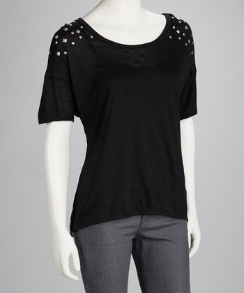 Black Studded Chiffon-Back Top