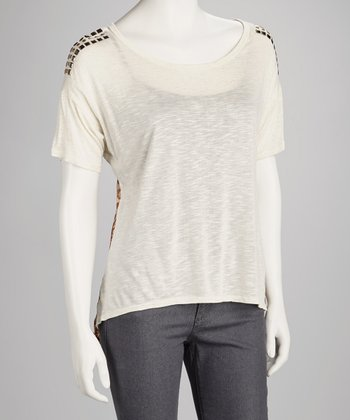 Oatmeal Studded Chiffon-Back Top