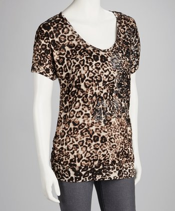 Taupe Cheetah Lace-Back Dolman Top