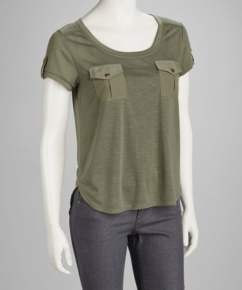 Olive Chiffon-Back Top
