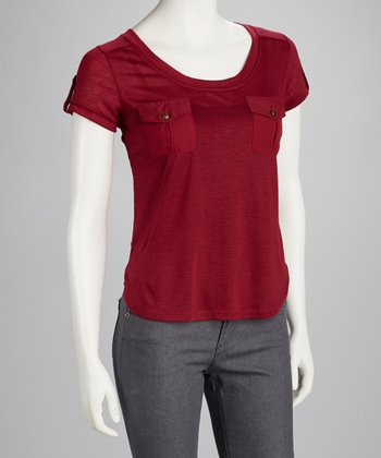 Burgundy Chiffon-Back Top