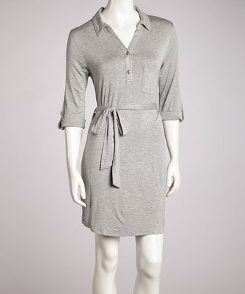 Gray Tie-Front Dress