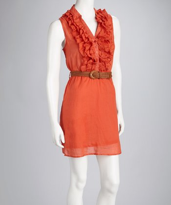 Orange Woven Belted Dress