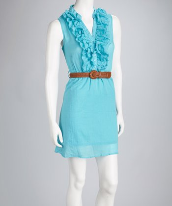 Turquoise Woven-Belted Dress