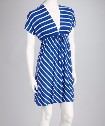 Royal Blue Stripe V-Neck Dress
