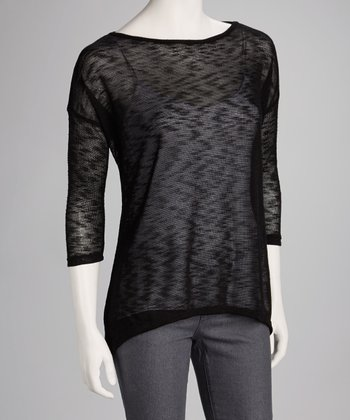 Black Slub Three-Quarter-Sleeve Top