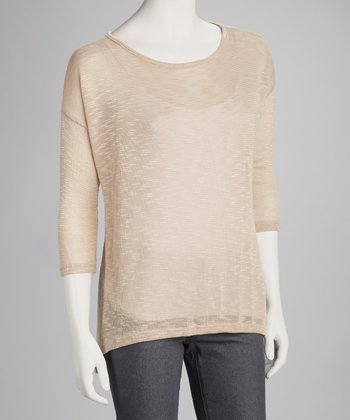 Taupe Slub Three-Quarter-Sleeve Top
