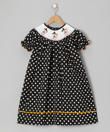 Black Witch Polka Dot Bishop Dress - Toddler & Girls