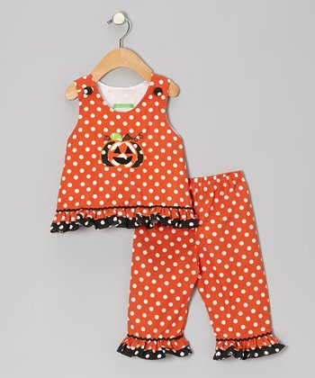 Orange Pumpkin Tank & Ruffle Pants - Infant, Toddler & Girls