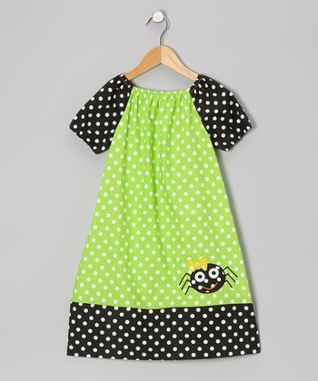 Green & Black Spider Dress - Infant, Toddler & Girls