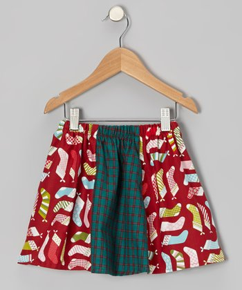 Green & Red Stockings Circle Skirt - Toddler & Girls