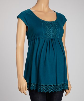 Teal Embroidered Square Neck Top