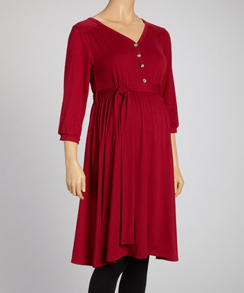 Burgundy Maternity Button-Up Tunic