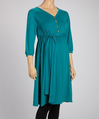 Teal Maternity Button-Up Tunic