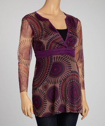 Purple Color Burst Maternity Surplice Top - Women