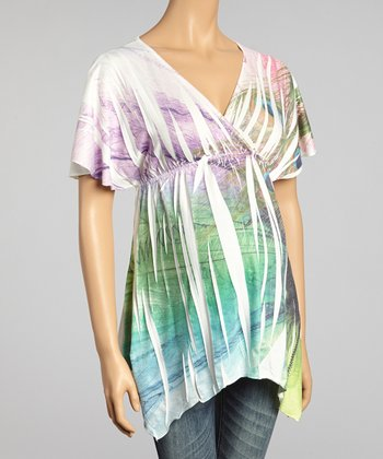 Ivory Peacock Sublimation Maternity Surplice Top - Women