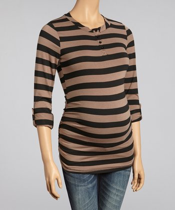 Mocha & Black Stripe Ruched Maternity Henley
